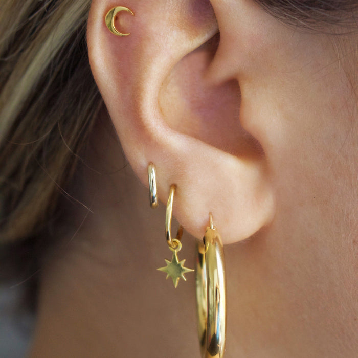 14k Gold Vermeil Mini New Moon Stud Earrings