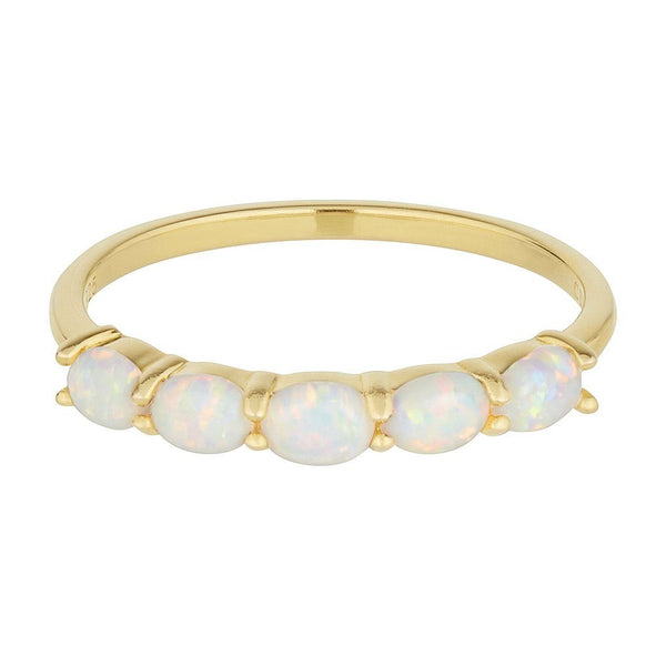 14k Gold Vermeil Orbit Ring in White Opal Ring uv overseas