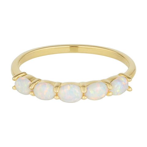 14k Gold Vermeil Orbit Ring in White Opal