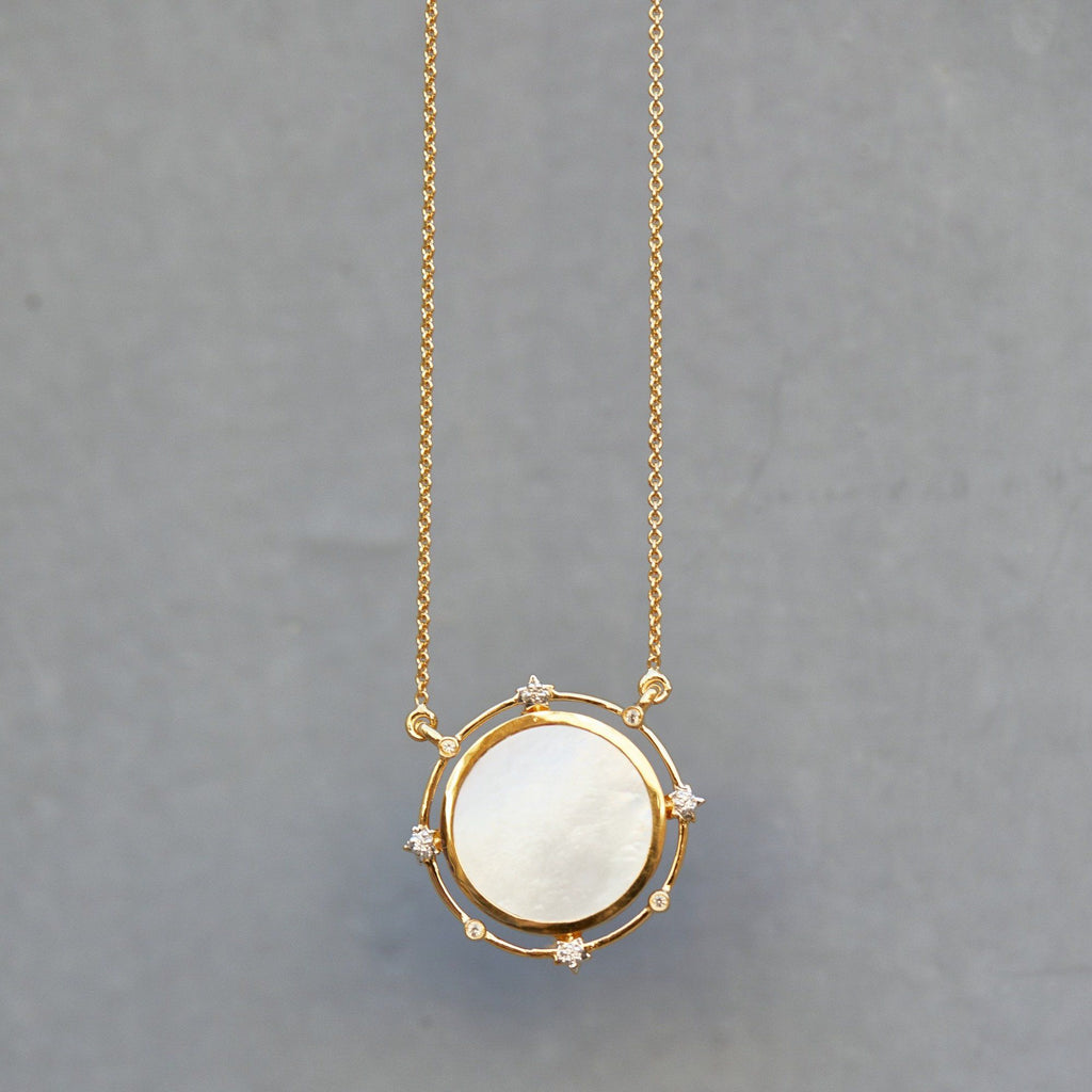 14k Gold Vermeil Stars Go Round the Moon Necklace in Mother of Pearl Necklace VJI