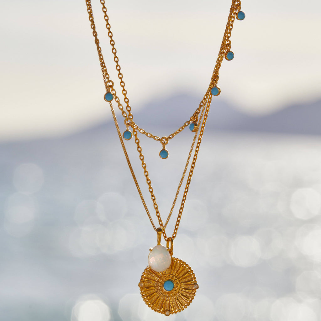 14k Gold Vermeil Turquoise drop necklace Necklace Malya