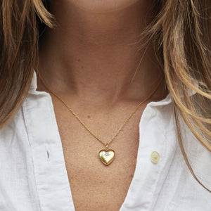 14k Gold Vermeil Diamond Star Set Heart Locket Necklace VJI