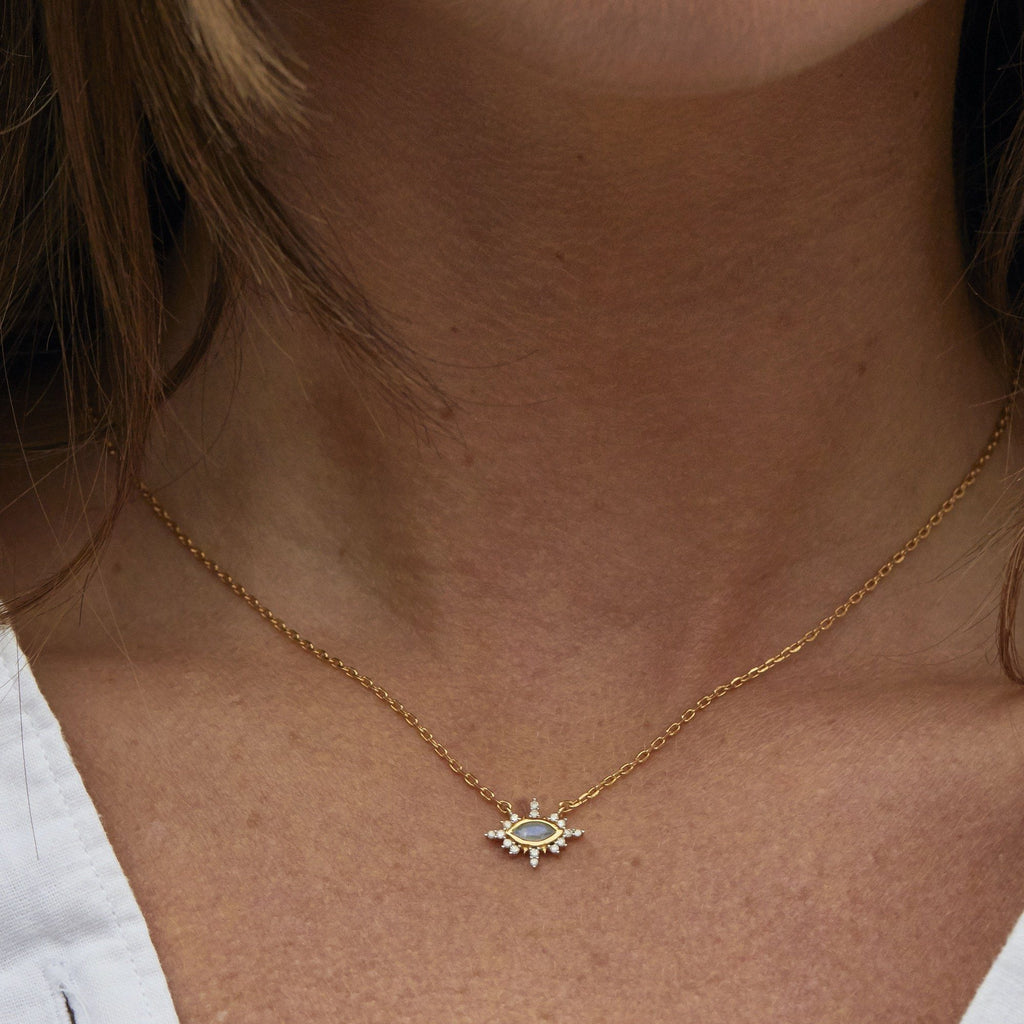 9K Solid Gold Third Eye Necklace in Moonstone & Diamonds Necklace Dwarkas