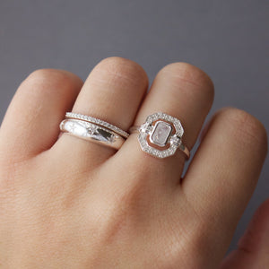Sterling Silver Ethereal Diamond Halo Ring in Moonstone