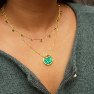 Green Onyx Droplet Necklace in Gold Vermeil