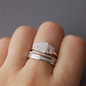 Sterling Silver Moonstone Deco Ring
