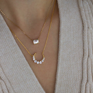14k Gold Vermeil Supernova White Topaz Necklace