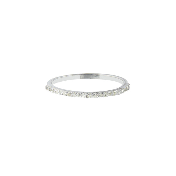Sterling Silver Diamond Pave Eternity Band