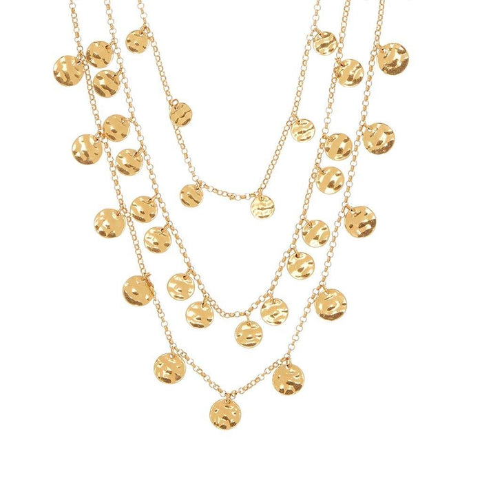 14k Gold Plated Three Layer Statement Coin Necklace