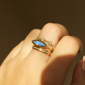 Contemporary Labradorite Stacking Ring In Gold Vermeil