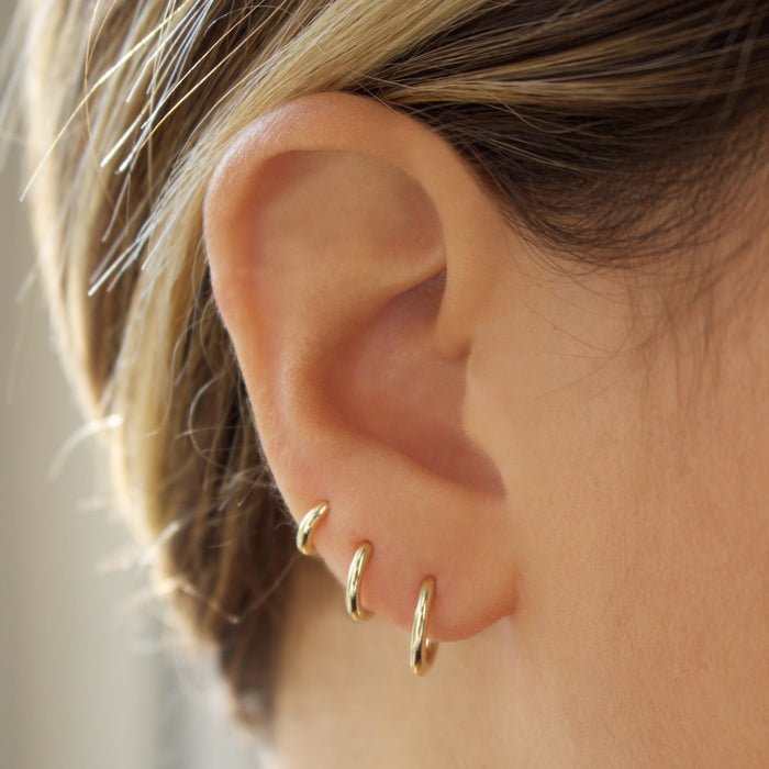 9k Solid Gold 12mm Small Hoop Earrings -SINGLE