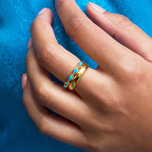 Turquoise Marquise Gemstone Stacking Ring in Gold Vermeil