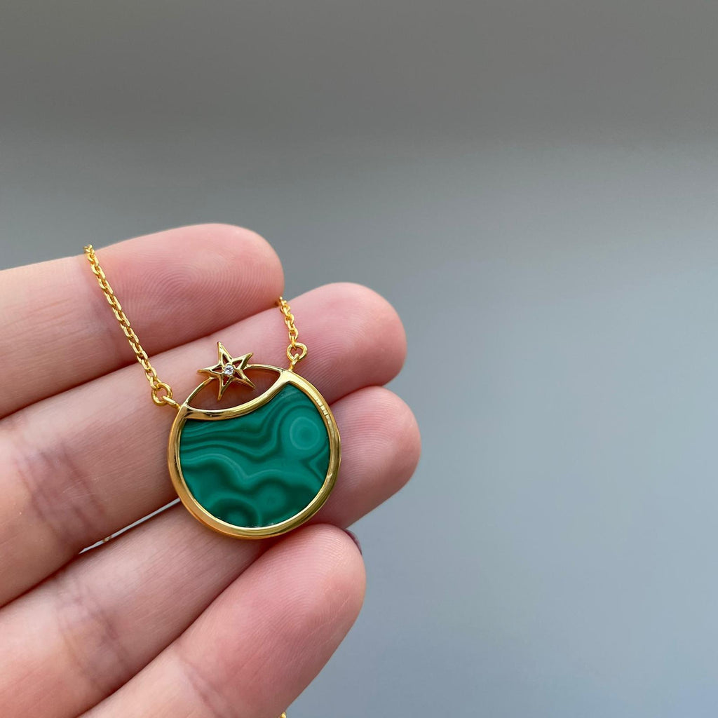 Malachite Star Eclipse Pendant in Gold Vermeil
