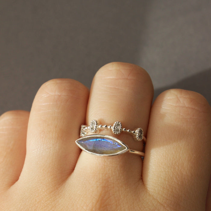 Sterling Silver Contemporary Stacking Ring in Labradorite