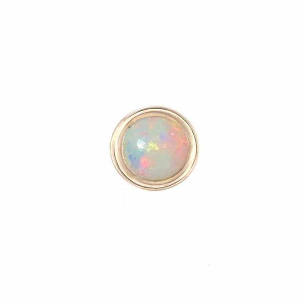 9k Solid Gold Round Opal Stud Earring