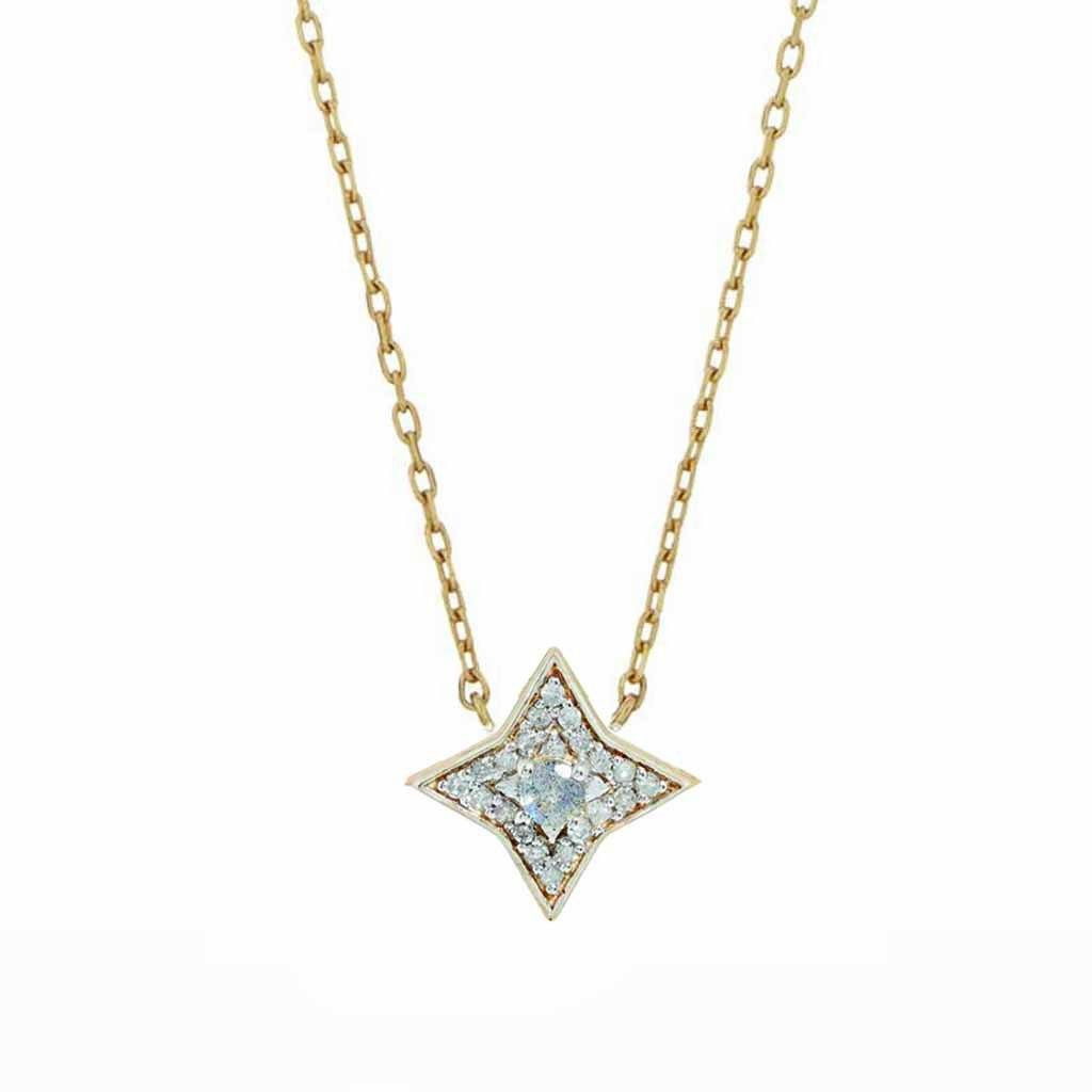 9K Solid Gold Mini Pave Star Necklace in Labradorite & Diamonds Necklace Dwarkas 9k Solid Yellow Gold