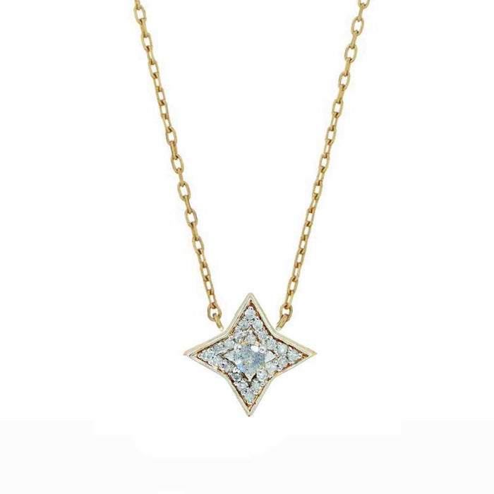9K Solid Gold Mini Pave Star Necklace in Labradorite & Diamonds