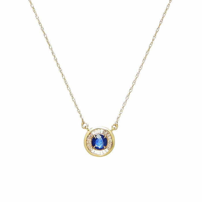 Evil Eye in Sapphire & Baguette Diamond Necklace In 9k Solid Gold