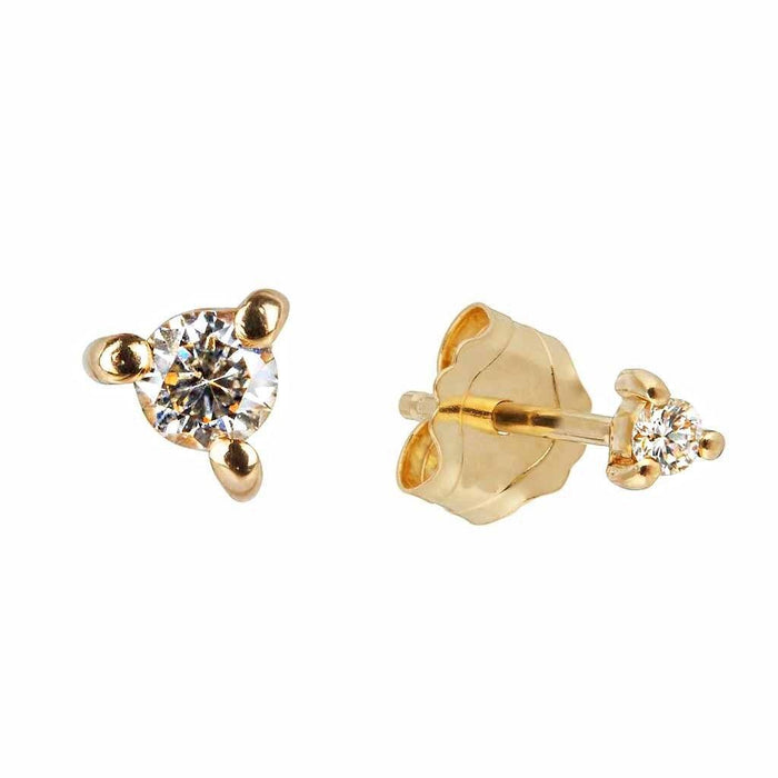 9K Solid Gold Diamond Stud Earring