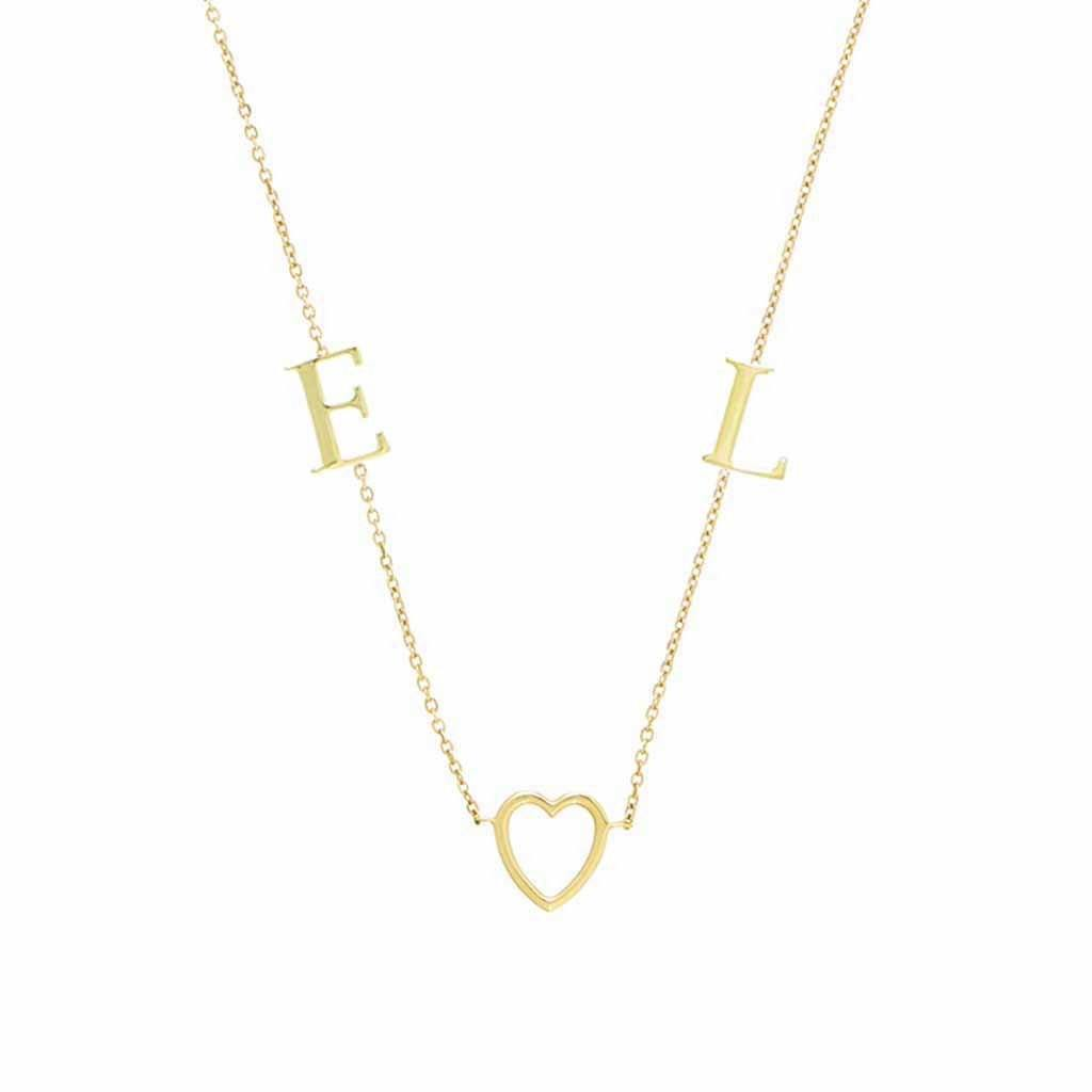 9K Solid Gold Heart & Initial Necklace Necklace Pink City