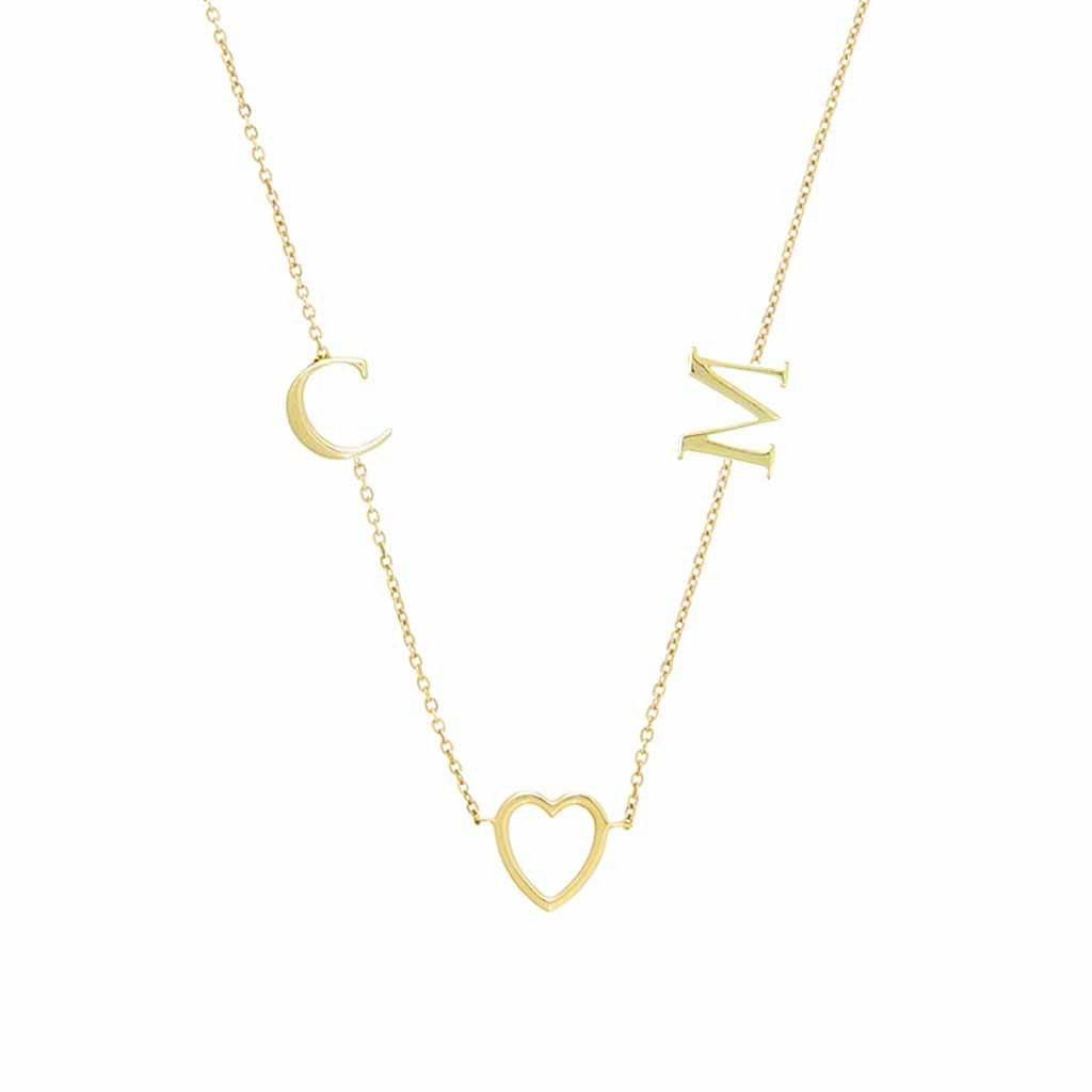 9K Solid Gold Heart & Initial Necklace Necklace Pink City Custom Made