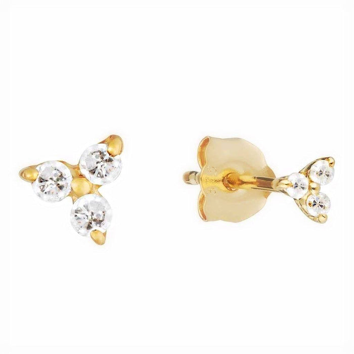 9K Solid Gold Trilogy Diamond Stud Earring