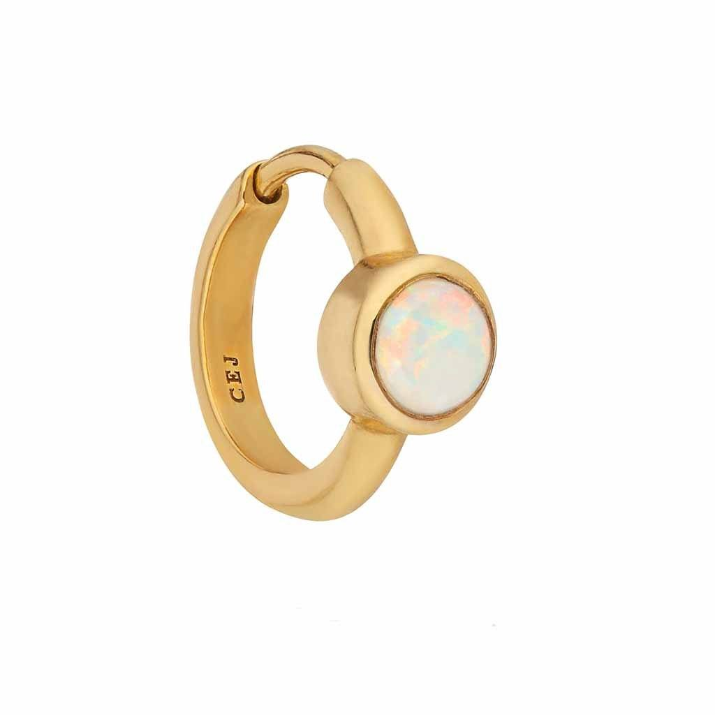 9k Solid Gold Opal Huggie Earrings Pink City