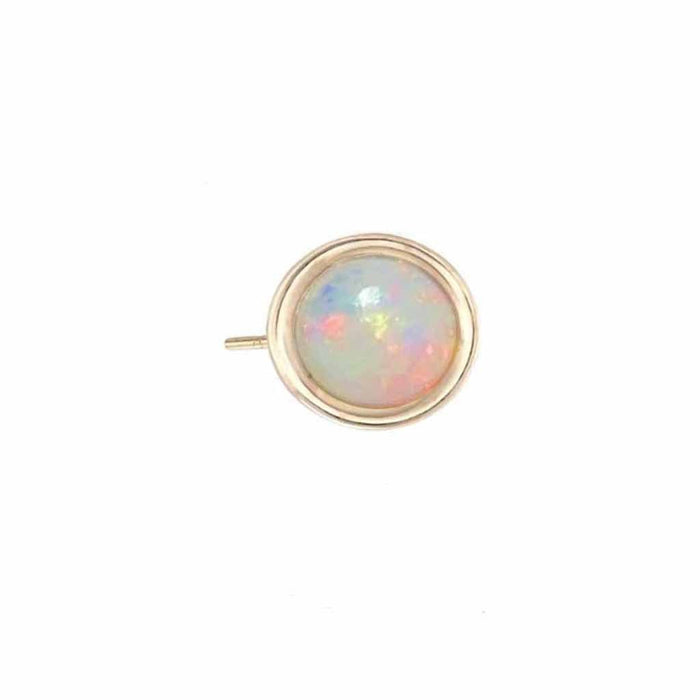 9k Solid Gold Round Opal Stud Earring Earrings Dwarkas