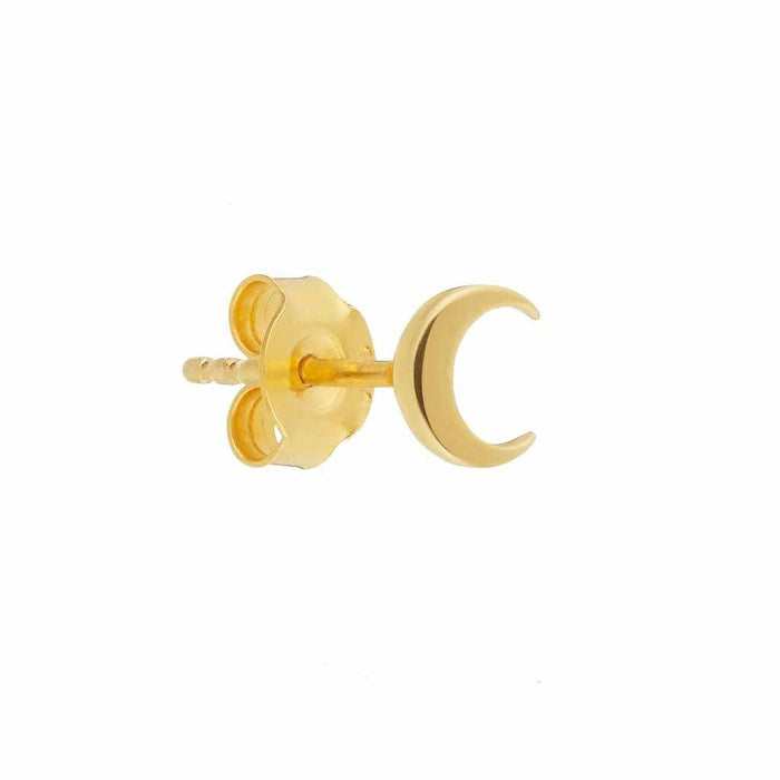 9k Solid Gold Crescent Moon Single Stud Earring