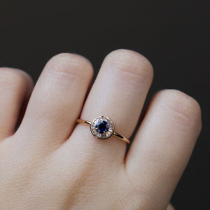 Evil Eye Sapphire and Diamond Ring In 9k Solid Yellow Gold