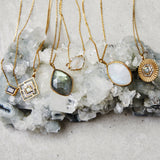 14k Gold Vermeil Diamond Deco Cut Out Necklace in Labradorite & Diamond Necklace Dwarkas