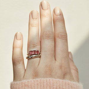 Sterling Silver Deco Emerald Cut Ring in Pink Tourmaline