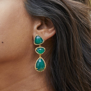 14k Gold Plated Triple Stone Statement Earring in Green Onyx