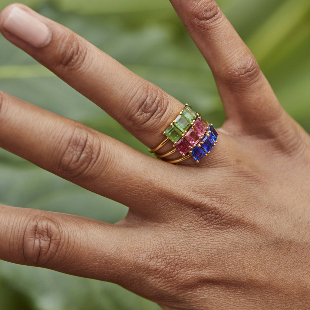 9k Solid Gold Deco Emerald Cut Ring in Mint Kyanite Ring Pink City