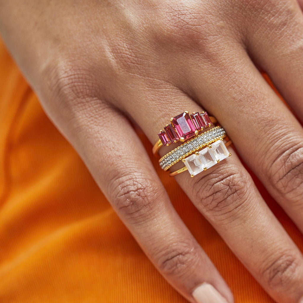 9k Solid Gold Rhodolite Deco Ring Ring PINK CITY