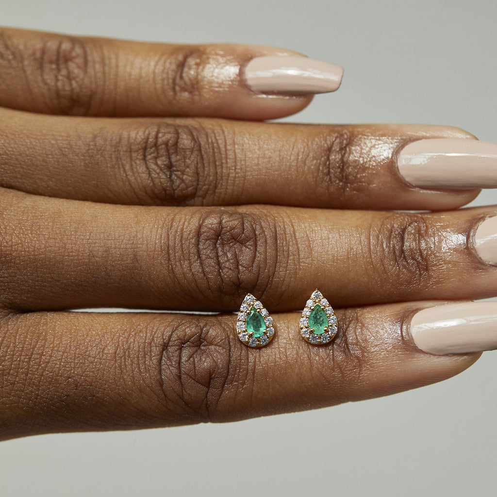 14k Gold Vermeil Emerald & White Zircon Pear Stud Earrings Dwarkas