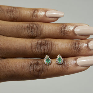 14k Gold Vermeil Emerald & White Zircon Pear Stud