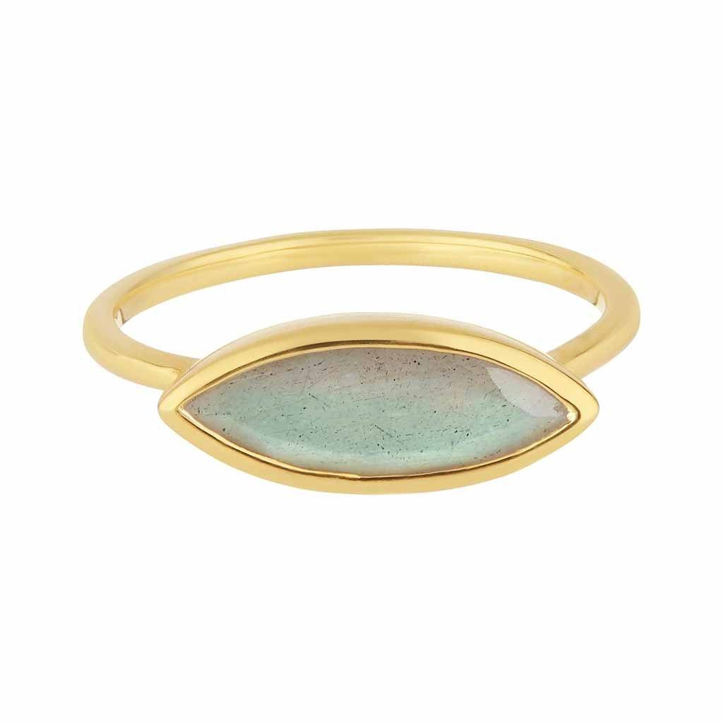14k Gold Vermeil Bezel Set Stacking Ring in Labradorite Ring Pink City