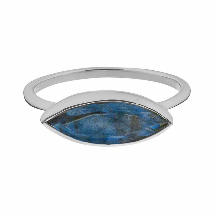 Contemporary Labradorite Stacking Ring in Sterling Silver
