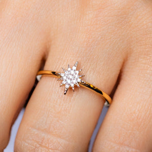 14k Gold Vermeil Mini Snowflake Ring in Diamond Ring Pink City