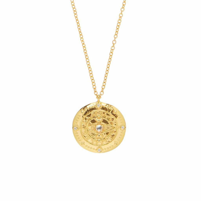 Carrie Elizabeth x You Compass Medallion in Moonstone & Diamond In Gold Vermeil