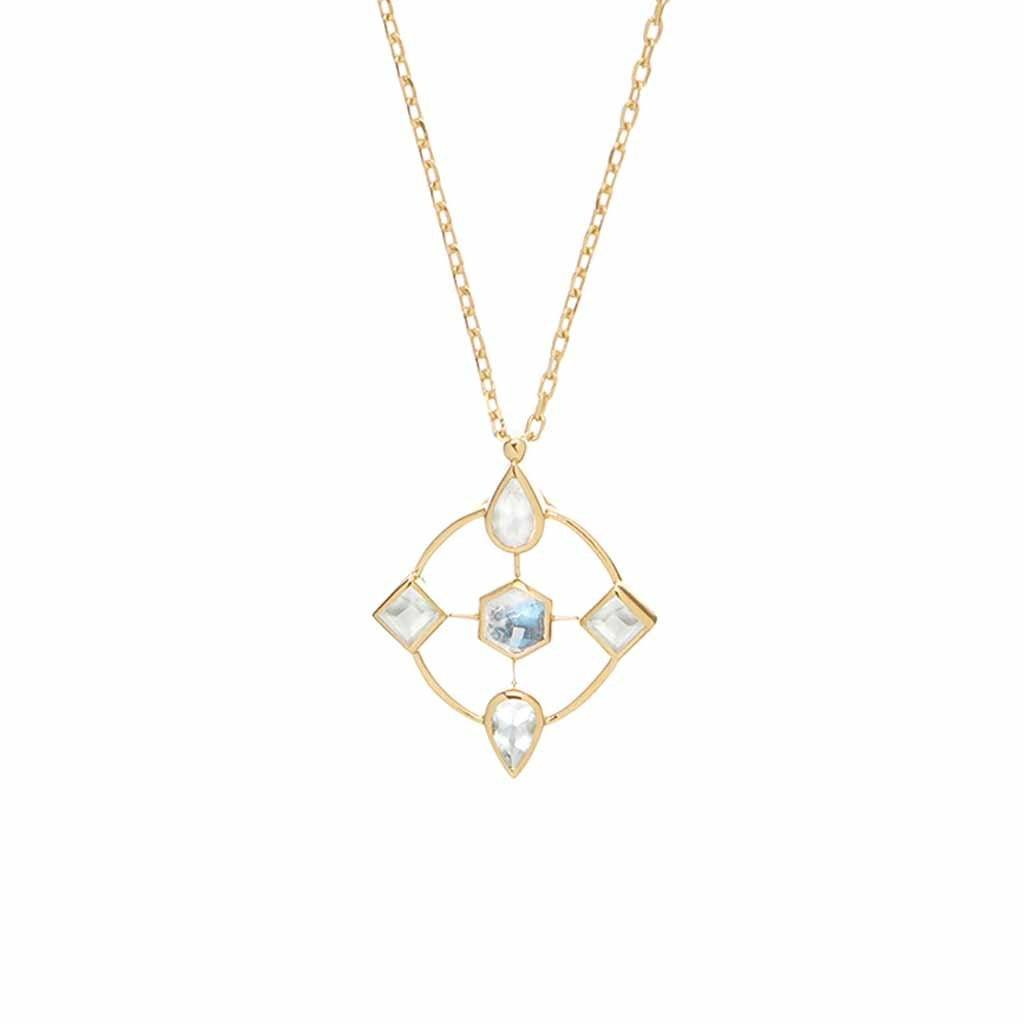 14k Gold Vermeil Carrie Elizabeth x You Philomena Pendant in Moonstone & Milky Aquamarine Necklace Dwarkas