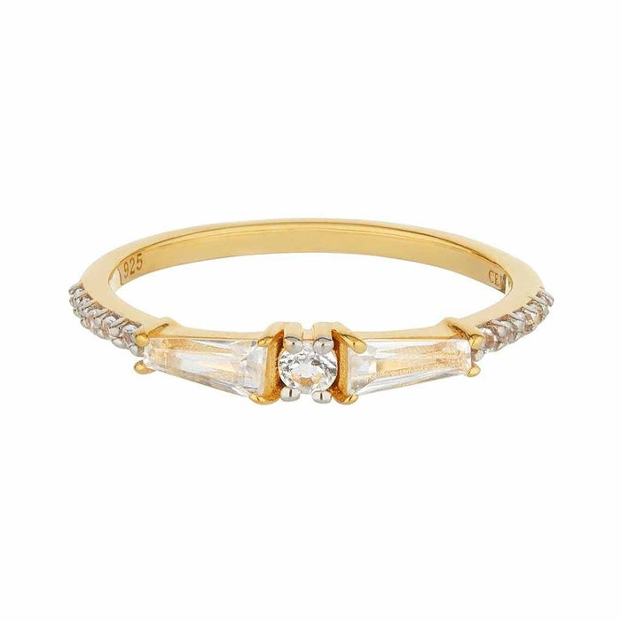 14k Gold Vermeil Carrie Elizabeth x You White Topaz Slim Stacking Band
