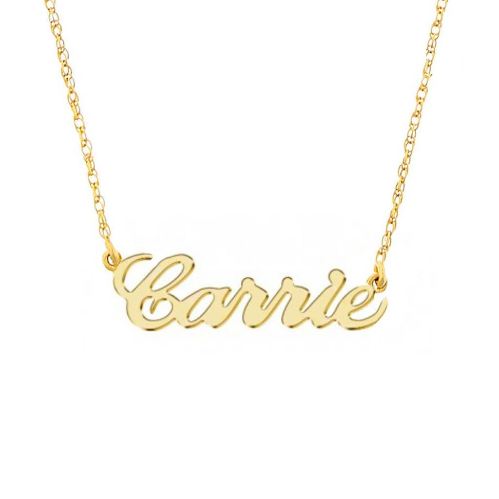 b8b198a59d595 9k Solid Gold Name Plate Necklace – Carrie Elizabeth
