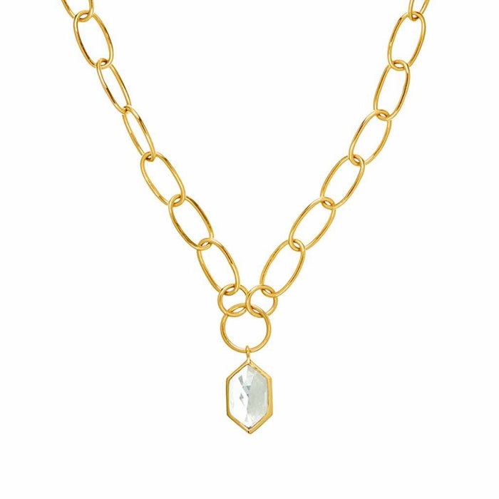 Chunky Chain with Deco Pendant in Gold Plated Brass