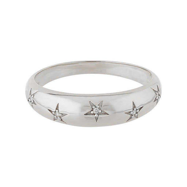 Sterling Silver Chunky Star Set Diamond Band