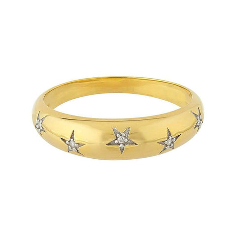 14k Gold Vermeil Chunky Star Set Diamond Band.