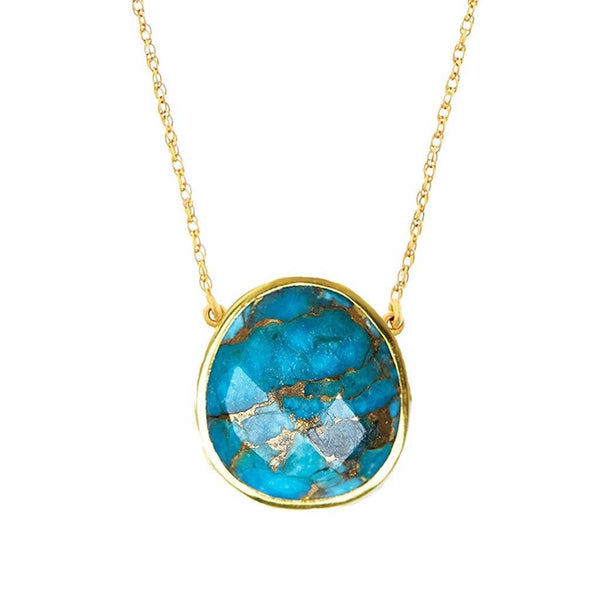 14k Gold Vermeil Statement Semi Precious Stone Pendant in Copper Turquoise Necklace Malya Gold