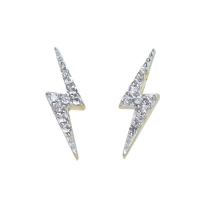 14k Gold Vermeil Lightning Bolt Diamond Stud Earrings