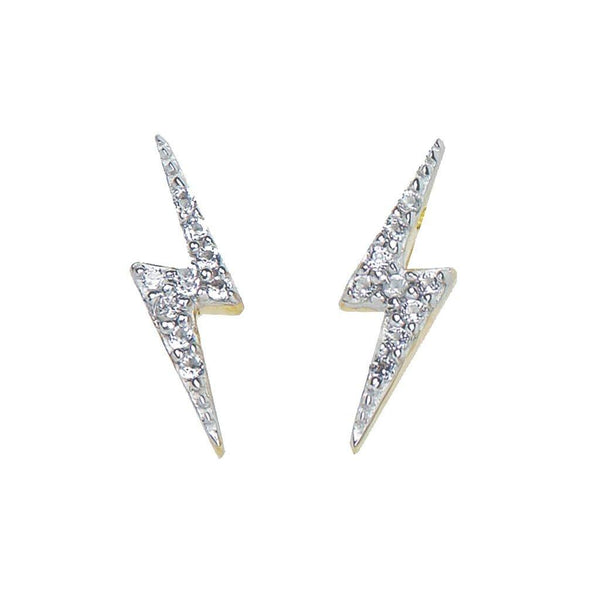 14k Gold Vermeil Lightning Bolt Diamond Stud Earrings - Carrie Elizabeth